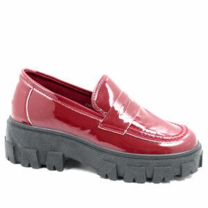 Jada Ladies Patent Penny Loafer Slip On Burgundy