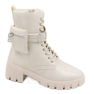 Jada Ladies Fashion Lace Up Boot With Pouch Winter White