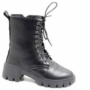 Jada Ladies Lace Up Boot With Zip Detail Black