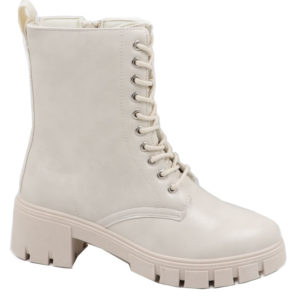 Jada Ladies Lace Up Boot With Zip Detail Winter White