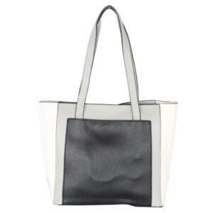 Blackcherry Colour Block Multi Compartment Tote-Black/Grey/Off White